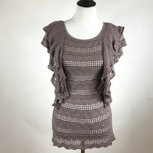 Anthropologie Knitted & Knitted Crochet Ruffle Top